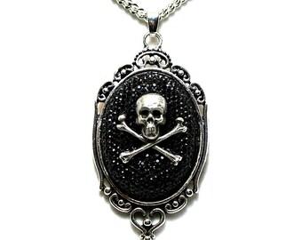 Skull Jewelry - Skull and Crossbones Rhinestone Cameo - Skull Necklace - Halloween