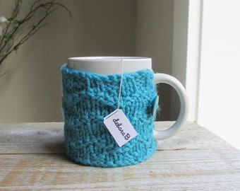 Handknit Coffee Cozy, Hand Knit Cozy, Wool Coffee Sleeve, Cup Cozy, Turquoise, Blue, Reusable Coffee Sleeve, Gift Under 15, Stocking Stuffer