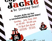 DIY PRINTABLE Invitation Card - Red Pirate Birthday Party Invitation - PS831CA1a1