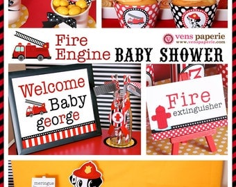 dalmatian firefighter baby shower package personalized full collection