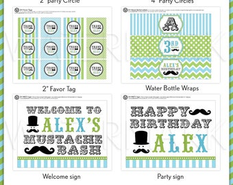 Little Man Mustache Lime Green & Baby Blue Birthday Party Package Personalized FULL Collection Set - PRINTABLE DIY - PS829CA3x