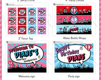 Superhero Birthday Party Package Personalized FULL Collection Set - PRINTABLE DIY - PS825CA2x