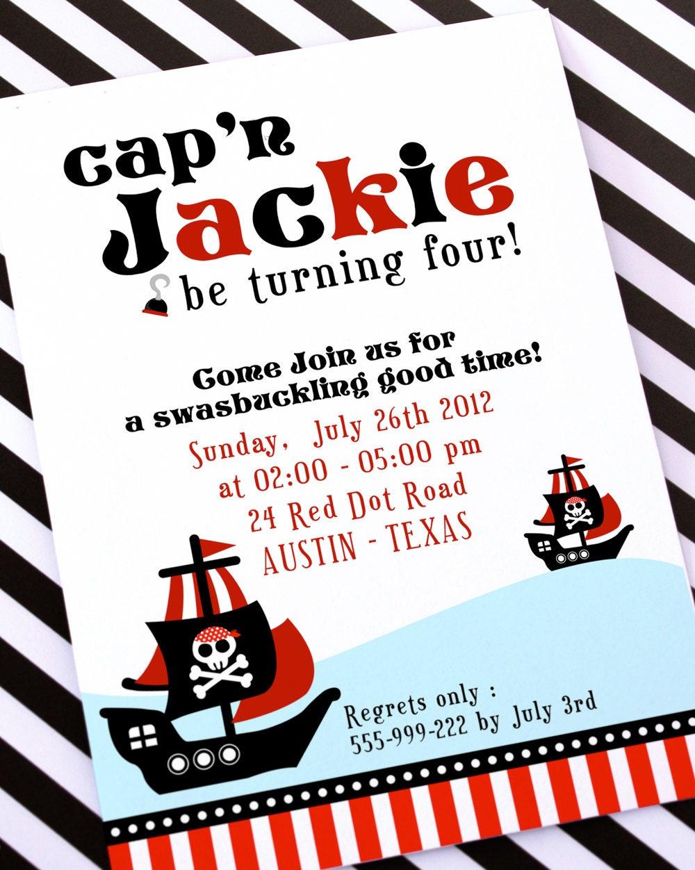 diy printable invitation card red pirate birthday party, Birthday invitations