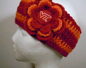 Crocheted Earwarmer in Maroon and Orange made with Virginia Tech Hokie fabric button