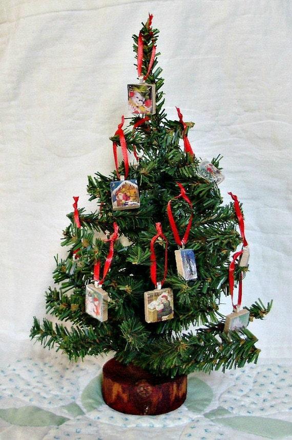 Items similar to Miniature Christmas Tree with Vintage