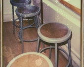 Cafe photograph vintage Polaroid print industrial stools