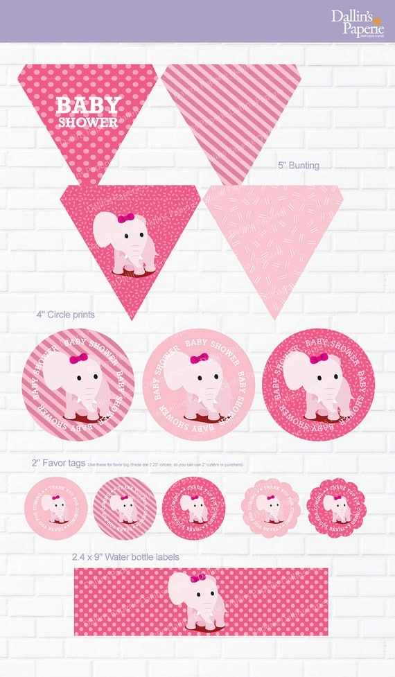 Items similar to pink elephant baby shower party for Baby shower decoration packs