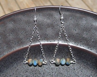Sky Blue & Brown Rondelle with Sterling Silver Pendulum Dangle Earrings