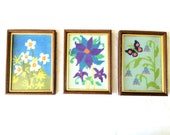 Vintage 1960's Needlepoint Flower Wall Hangings