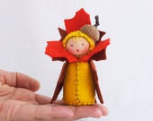 Leaf Decoration Felt Doll Autumn Acorn - Miniature Brown Orange Yellow Fall Table Decor