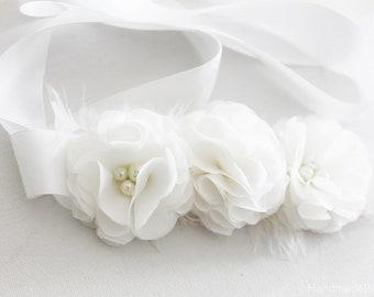 Bridal Sash Belt, White Chiffon, Bridesmaid, Flower Girl, Wedding, Flower Belt, Tie Back Hair Band, Floral Sash Belt, Girl Flower Belt