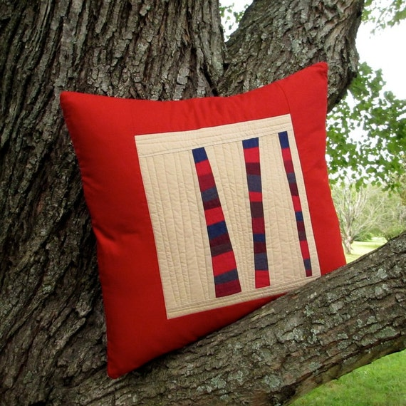 Modern Red Pillow, Red Quilted Pillow Cover, Fiber Art Pillow, 18x18