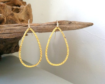 SALE - Gold Teardrop Earrings, 14k gold fill / Summer Collection / textured, chic, simple, modern, delicate