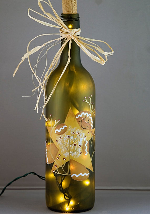 Lighted wine bottle christmas decor gingerbread by for Wine bottle decoration with lights