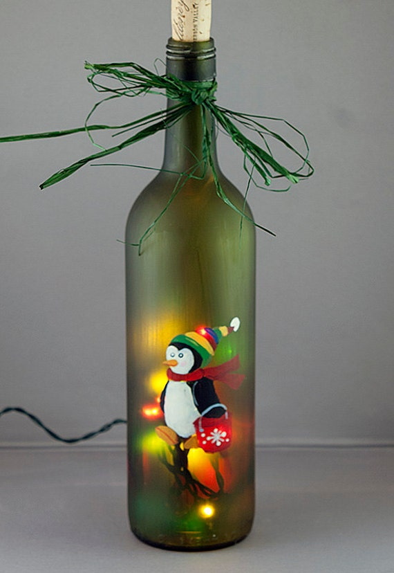 Penguin ice bucket lighted wine bottle hand painted for Glass bottles with lights in them