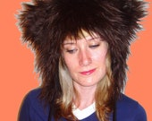 Grizzly Bear Animal Hat with Earflaps and Pom Poms, made to order