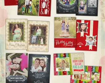 PSD Christmas Photo card template - Messages of Love - E551