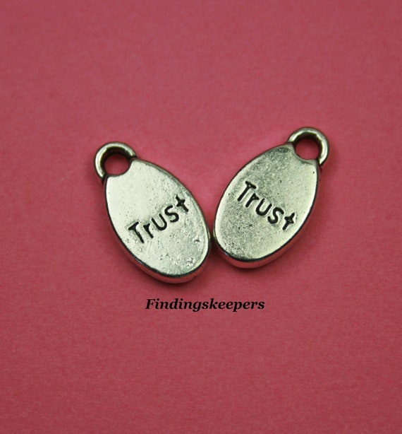 10 Trust Charms,  Antique Silver 16 x 8 mm -  ts 112