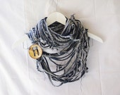 SALES-Scarf Necklace - Unisex- Upcycled Blue Jeans with a Wooden Button