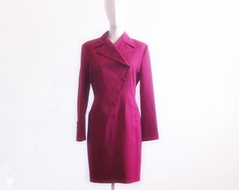 Byblos Wool dress, burgundy secretary style size S