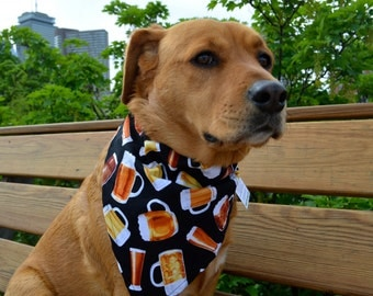 Beer no tie dog bandana - Goes over collar  - mugs steins drafts - Small Medium Large