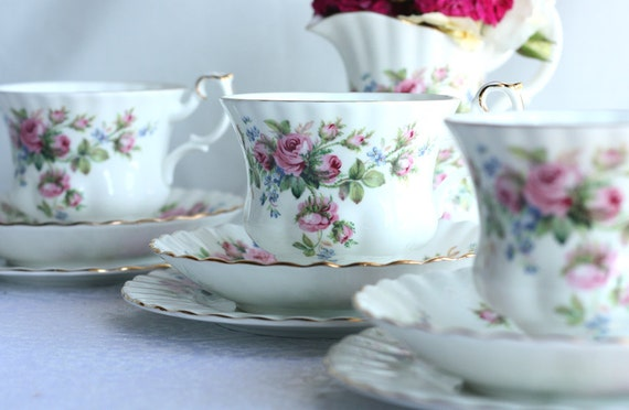 "Classic Royal Albert tea set: ""Moss Rose"" tea cup, saucer and plate, a lovely set to enjoy your special cup of tea"