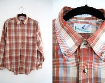 Vintage Men's Plaid Shirt / Checkered Shirt by Flying Scotsman - Size Medium