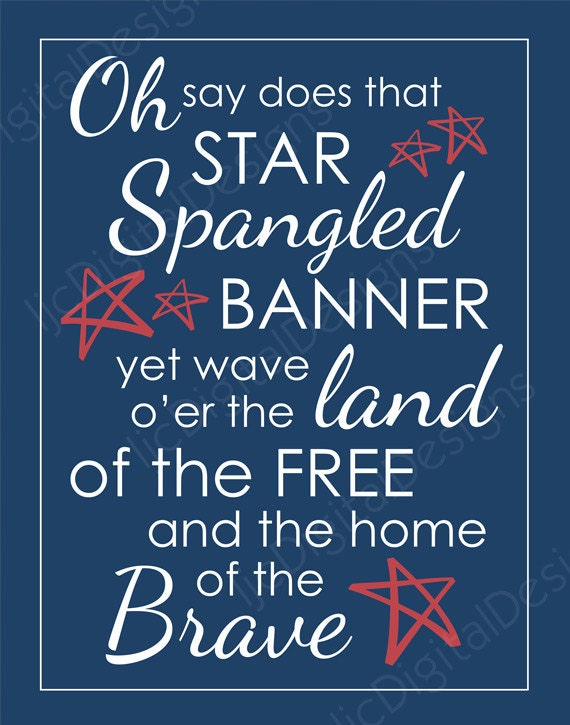 Printable 4th of July Star Spangled Banner Lyrics Patriotic Digital ...