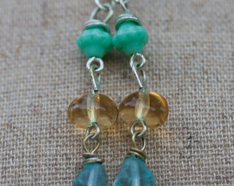 Beachy Czech Glass on Sterling Silver Earrings - FREE SHIPPING