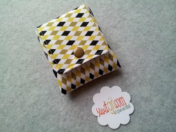 Tea wallet - 6 pockets- Grey, Yellow, and Black Mini Diamonds- Ready To Ship.