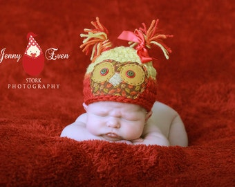 Baby Owl Hat - Fall Autumn Hat - Photography Prop  - Baby Girl or Baby Boy