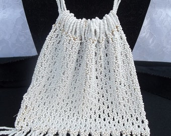 Antique Hand Beaded White Reticule Drawstring Purse White Seed Bead Flapper Purse Bridal Wedding Purse DD 149