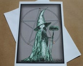 Spooky Halloween Costume Party Invitation, Green 'Witch Dress-up', Handmade Greetings Card. A6 (blank)