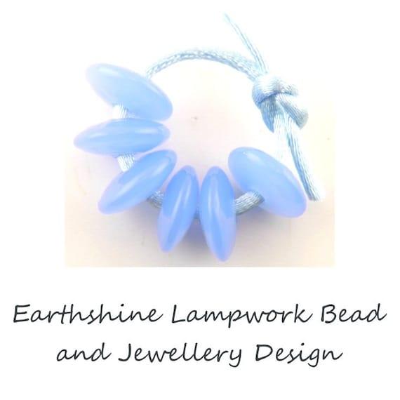 6  Handmade Disc shaped Lampwork Glass Beads