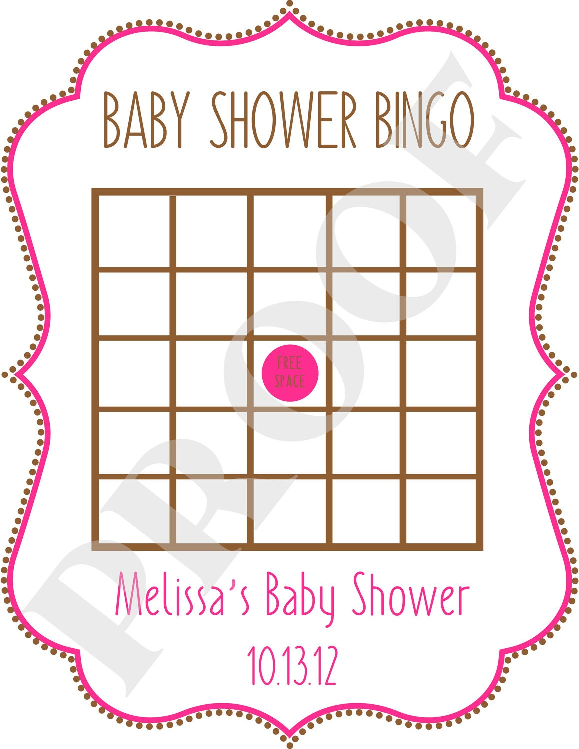 baby shower bingo jpeg file by poshpapetiere on etsy