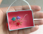 Two Love Birds on a Tree Branch. Assemblage Art Box 3-D Miniature Diorama. Hand Painted Birds. Landscape. Wire Branch. Heart. Whimsical.