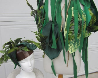 Upcycled Clothing, Jungle Costume, Jungle Cape and Headpiece, The Jungle Book, Eco Friendly