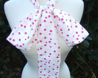 Upcycled Clothing Fozzie Bear Bow Tie, The Muppets,  Pink and White Polka Dot Neck Tie - Small Print, Handmade Costume Accessory