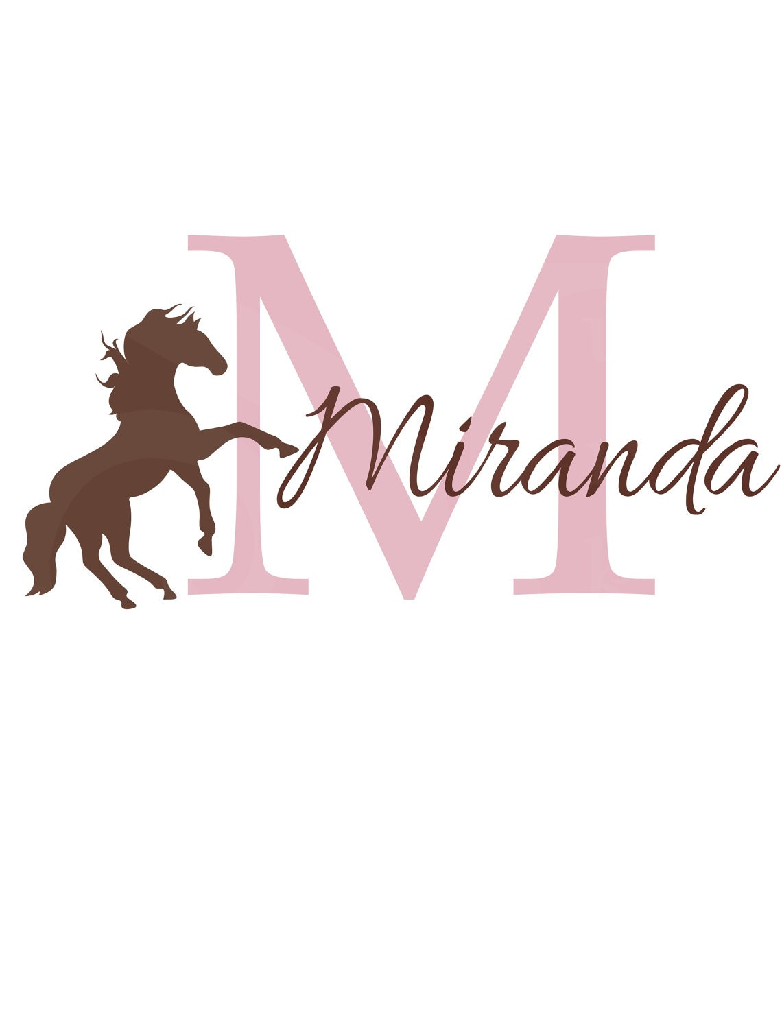 Girl Name Wall Decal Initial and Name with Horse by ...
