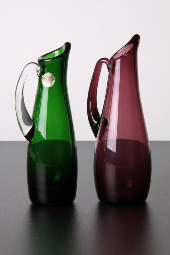 Pair Small Whitefriars Art Glass Jugs Vases Green Purple Blown