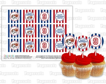 Printable DIY Red and Blue All Star Sports Balls Theme Personalized Happy Birthday Cupcake Toppers Digital File