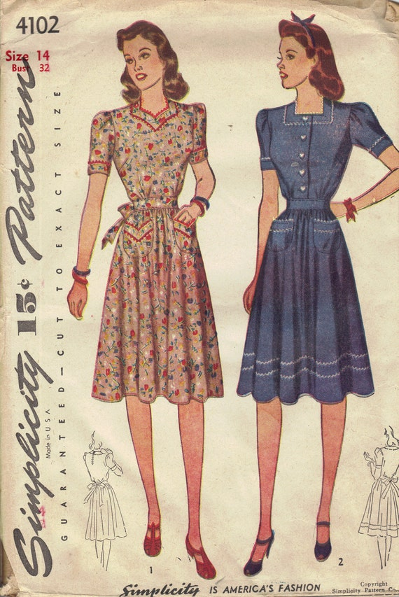 Simplicity 1940s Sewing Pattern Depression Era Dress Casual Housedress Sweetheart Neck Short Sleeves Tie Waist Uncut FF Bust 32