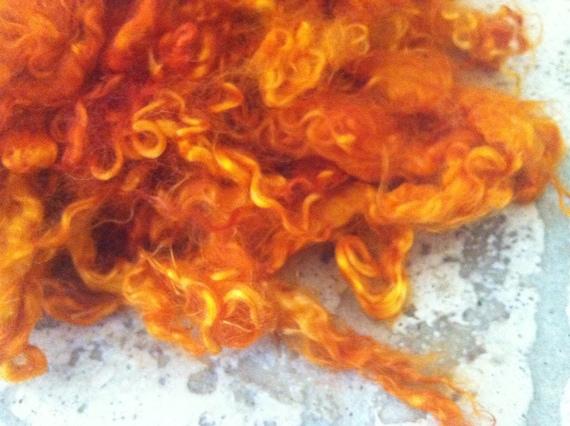 "Locks ""Burnt Orange Tangerine Tango"" - Orange tint mohair - doll hair waldorf - felting spinning 1 ounces (63)"