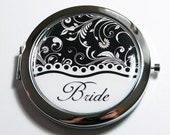 Bride compact mirror, Black White, wedding shower gift, mirror, bridal shower, Wedding, Personalized, custom, Bride  (2700)
