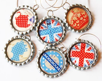 British wine charms, Wine Glass Charms, Wine Charms, Bottlecap wine charm, London, England, British, Union Jack, London Calling (1473)