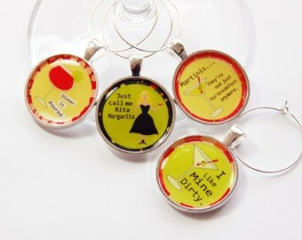 Funny Wine Charms, Wine Charms, Wine Glass Charms, silver plate, barware, entertaining, table setting, humor, yellow, green (2712)