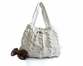 Personalized Bag Grey Cable Knit Shoulder Bag, Which Color You Want, Custom color, Useful bag, Tote, Daily use