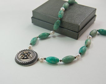 Pearl Necklace with Handmade Pendant .  Recycled Vintage