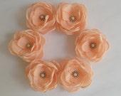 Small Peach Pastel Orange fabric flowers in handmade Bridesmaids dress accessory hair shoe clip, Peach Weddings Flower girls Birthday gift