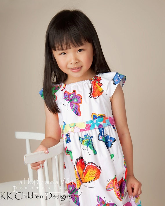 Butterflies Dress - Garden Party - Birthday Party -  Frock Dress - Photo Shoot - Wedding - Picture Day Dress - Wedding - 3T to 6